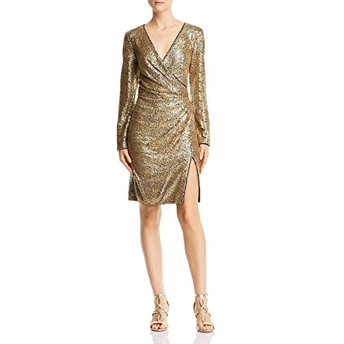 Tadashi Shoji Women's l/s Sequin Dress, Gold/Black, S