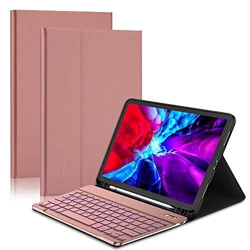 ZHIKE Spain- Funda con Teclado para iPad Pro 11 2020 (2.a Gen) / 2018 (1.a Gen), Teclado Bluetooth Desmontable QWERTY, Portalápices, 7 Colores con Retroiluminación, Soporte Abatible(Rosa Dorado)