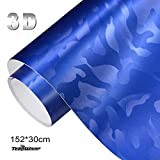 TECKWRAP リアル ゴースト3 D迷彩 長さ152cm幅30cm サイズ ハイグレード ブルー(青)ハイグロス(光沢・艶あり) ラッピングフィルム エア抜き溝仕様…