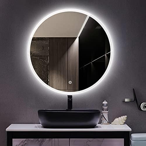 STARLEAD Espejo Redondo montado en la Pared sobre la vanidad 600mm de diámetro, Espejo antivaho Regulable para baño, Espejo de Maquillaje Iluminado con luz LED con Altavoz Bluetooth