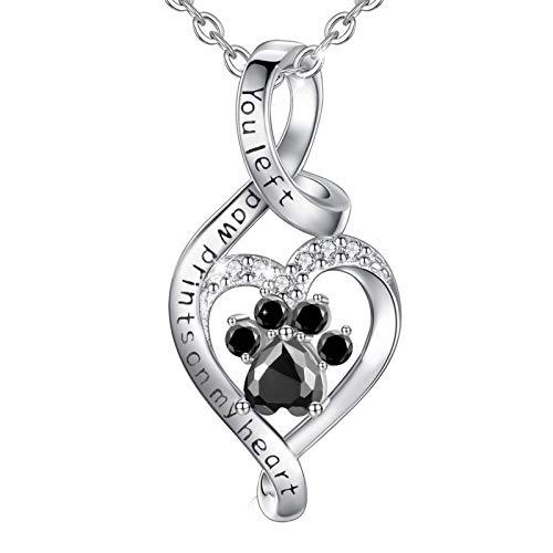 CELESTIA Mujer Collar Colgante Corazón con Huella de Gato Perro, Plata de Ley 925 Joyería de...