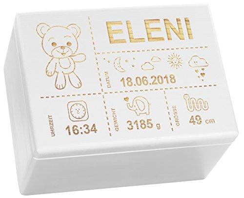 LAUBLUST Holzkiste mit Gravur - Personalisiert mit GEBURTSDATEN - Weiß, Größe XL - Teddybär Motiv - Erinnerungskiste als Geschenk zur Geburt