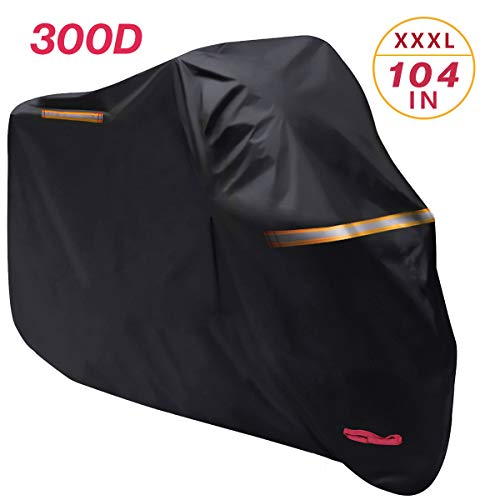 Waterproof Motorcycle Cover, All Weather Outdoor Protection, Thickened to 300D Oxford Cloth Durable and Tear Proof for 104 inches Motorcycles Like Honda, Yamaha, Suzuki, Harley and More(XXXL,Black)
