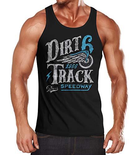 Neverless® Herren Tank-Top Dirt Track Racing Muskelshirt Muscle Shirt schwarz-türkis M
