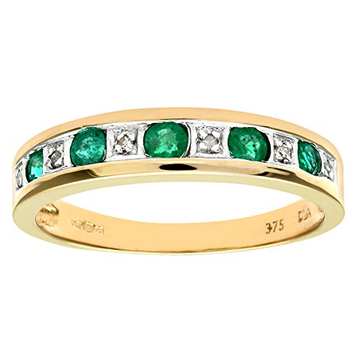 Naava Women's Eternity Ring, 9 ct Yellow Gold Diamond and Emerald Ring, Channel Set Size:K