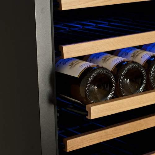 Edgestar 332 Bottle Built-In Side-by-Side Wine Cellar Stainless Steel - Black