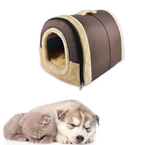 Xinllm Cuccia Gatto Interno Cuccia per Cane da Interno Letto Veterinario per Cani Plush Dog Bed Letto per Cani birichino Pet Nest Dog Cave Bed Brown