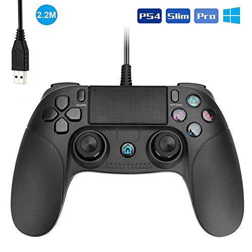 Allnice PS4 Controller Wired Controller für Playstation 4 Dual Vibration Shock Joystick Gamepad für PS4/PS4 Slim/PS4 Pro und PC (Windows 7/8/10) mit 2,2 m langem USB-Kabel, Schwarz