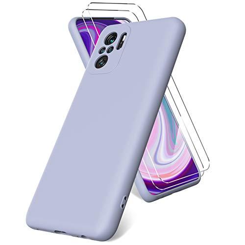 Vansdon Funda Compatible con Xiaomi Redmi Note 10 4G/ Note 10S, 2 Unidades Protector Pantalla Cristal Templado, Silicona Líquida Gel Ultra Suave Funda- Gris Lavanda