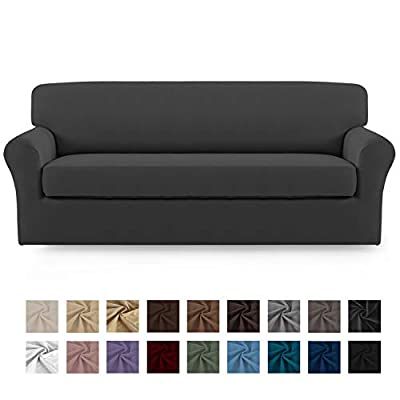 Easy-Going 2 Pieces Microfiber Stretch Sofa Slipcover – Spandex Soft Fitted Sofa Couch Cover, Washable Furniture Protector with Elastic Bottom for Kids,Pet ?Sofa?Gray?