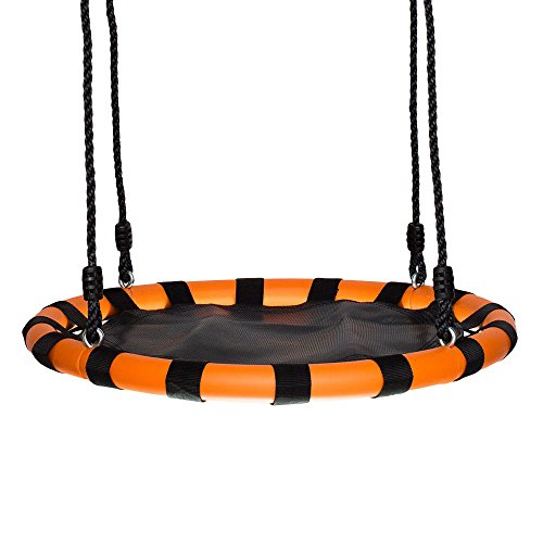 Swinging Monkey Products 24' Fabric Spinner Swing, Black/Orange – Fun! Easy Install on Swing Set or Tree, Oxford Fabric with Padded Steel Frame