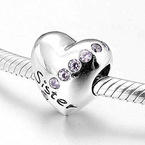 Zilveren Kralen Bedels,Hartvorm 925 Sterling Zilver Roze Zusje Bead Charm Charm Bracelet Jewelry Gift