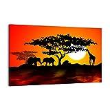 ARTTOR Quadro su Tela - Elemento Unico - Animali Safari Savana Giraffa - 120x80cm - Pronto da Appendere - Home Decor - Stampe su Tela - Quadri Moderni - Completamente incorniciato - AA120x80-0539