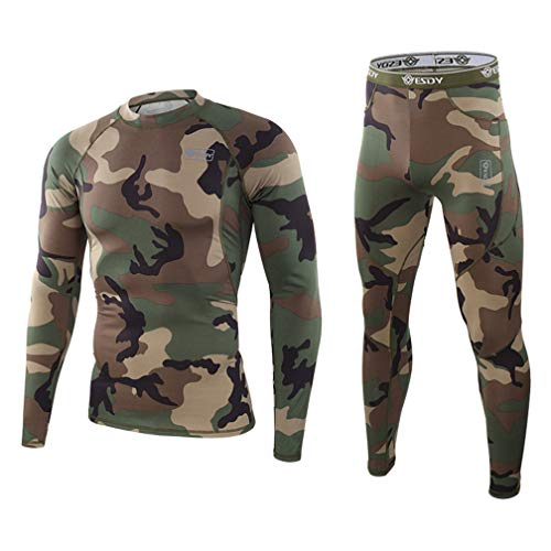 Men's Thermal Underwear Set Sport Long Johns Base Layer for Male, Winter Gear Compression Suits for Skiing Running Fitness (Jungle Green, Medium)