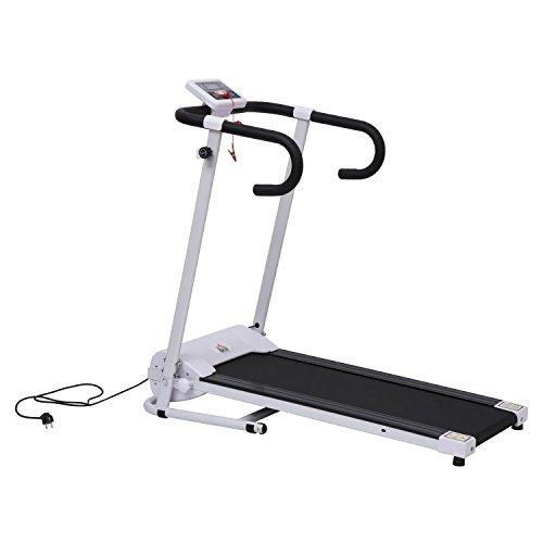 HOMCOM Cinta de Correr y Andar Plegable y Eléctrica de 500W para Fitness 1-10Km/h con Pantalla LCD y Carga Máx. 110kg Blanco y Negro