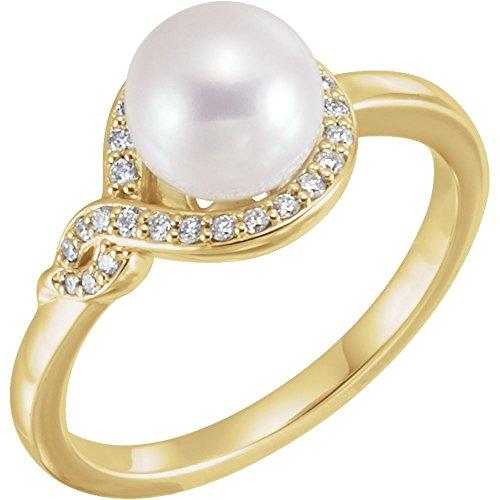 Anillo de oro amarillo de 14 quilates con perla de agua dulce pulida y diamante de 0,13 DWT, tamaño M 1/2, joyería de regalo para mujeres