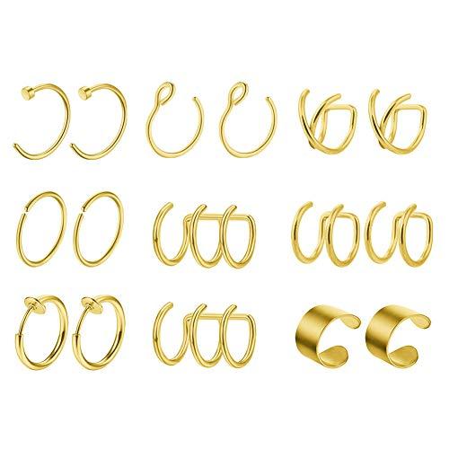 Mayhoop 8 Paar Ear Cuff Gold Edelstahl Ohr Manschette Nicht Piercing Clip auf Knorpel Ohrringe Fake Nasenpiercing Nasenring Fake helix Lippenpiercing für Männer Damen