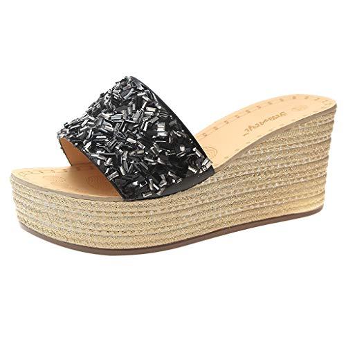 Pingtr - Damen Sandalen/Strandschuhe Hausschuhe,Frauen Damenmode Kristall Bling Böhmische Kausal Wedges Beach Slipper Schuhe