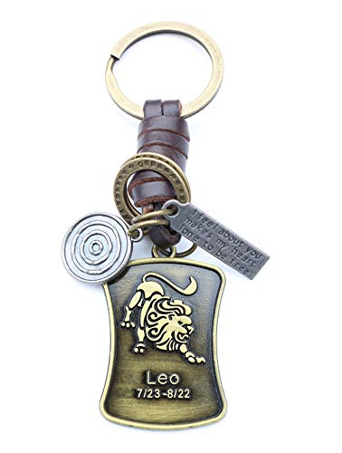 AuPra Leo Leather KeyRing Gift Idea Women & Men Best Friend Home Lion Zodiac KeyChain Mum & Dad Teacher Handbag Charm Key Ring Girl & Boy Car Pendant