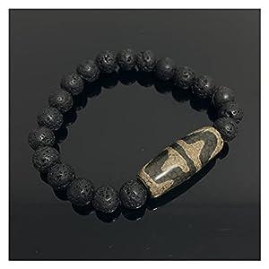 Energiegrau grün natur tibetan dzi agate armbänder vintage buddha gebet neunäugige agate charme schwarze lava armbänder männliche heilende stein abwöhne aus bösen spirituosen ( Farbe : Tiger Teeth )