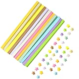NUOBESTY Doble cara Star Origami Five Lucky Star Strips Origami Folding Star Paper Wishing Filler para niñas - 12 piezas, colorido