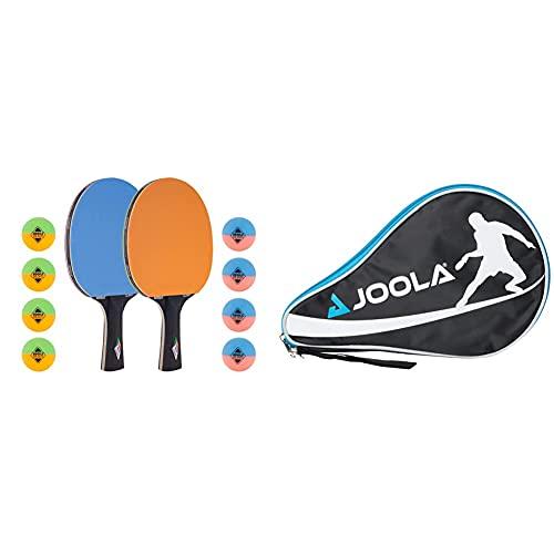 JOOLA Tischtennis-Set COLORATO Bestehend aus 2 Tischtennisschläger + 8 Bunte Tischtennisbälle & Tischtennishülle TT-Hülle Pocket Passend für 1 Tischtennisschläger und 3 Tischtennisbälle, One Size