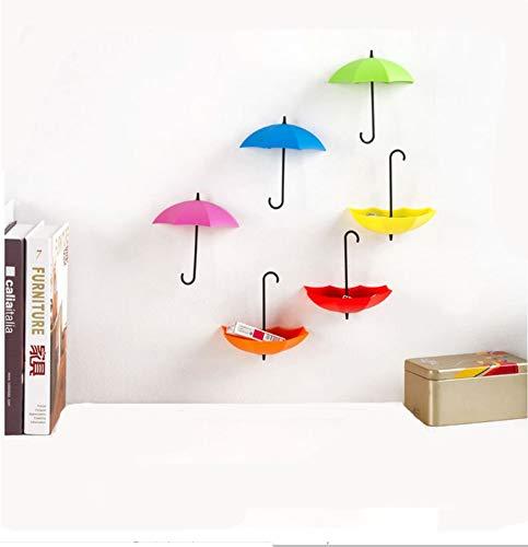 6Pcs / Set Ami da muro colorati con forma a ombrello, Mensole per decorazione da parete, Contenitori da parete per bagno