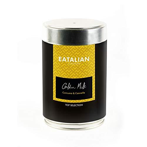 EATALIAN Golden Milk, Pulverzubereitung für Getränke mit Milch und Gewürzen mit Kurkuma und Zimtgeschmack 500 g, Made in Italy, ohne Gluten, ohne hydrierte Fette und Farbstoffe, inklusive Messbecher