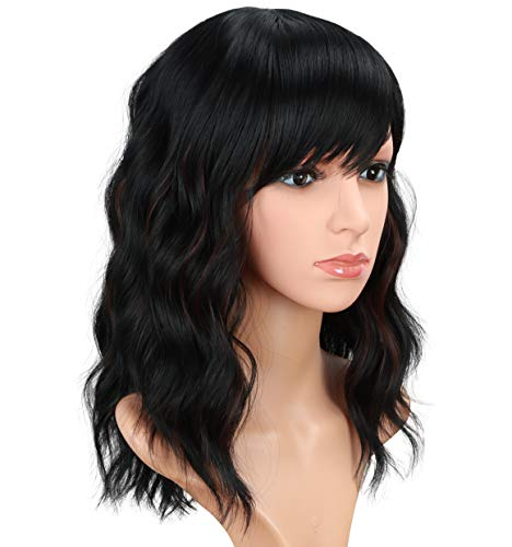 Fashion Short wavy wigs for black women Black Mix Brown Curly Hair Wigs With Bangs None Lace Synthetic Full Wigs Heat Resistant Cosplay Party Custom Wigs(Black Mix Brown) …