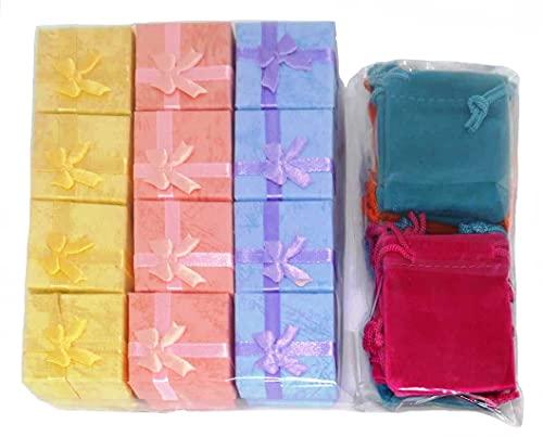 ギフトボックス セット 指輪用 贈答箱 袋 12組 ベルベット 巾着袋付 アクセサリーボックス リング イヤリング ジュエリー ラッピングセット