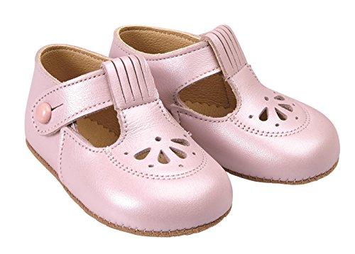 Scarpine primi passi Early Days in vera pelle di colore Rosa Perlato per bimbe prodotte nel Regno Unito - Robin circa misure 16