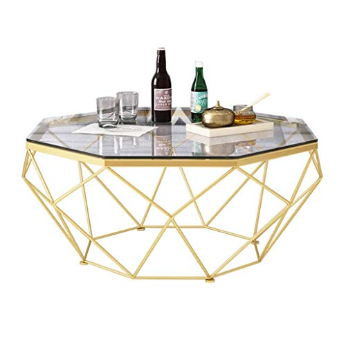 Marmeren salontafel Tabellen Elegant Coffee Table Couch Bedside Side Table, Octagon gehard glas Geometric Gold metalen frame Ontwerp for Decor Living Room Laptop Desk leisure tafel