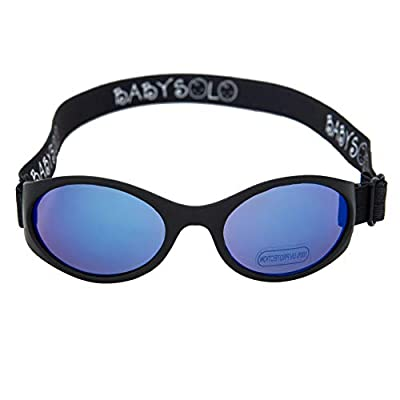 Baby Solo Original 2.0 Baby Sunglasses Safe, Soft, Super Adjustable and Adorable (0-36 months (Large to normal head), Matte Black Frame w/Blue Mirror Lens)