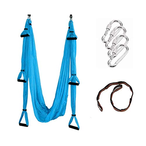 Karriw Aerial Anti-Gravity Yoga Hammock Swing Fitness Inversion Pilates Yoga Trapeze/Yoga Swing/Sling/Inversion Tool (Blue)