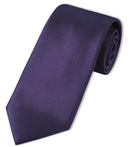 Puccini XXL Krawatte Herren, Einfarbig, verschiedene Farben, Krawatte Überlänge, Satin-Glanz, Mikrofaser, 8,5 cm, Handarbeit, Lila / Aubergine, 160 cm lang, 8,5 cm breit
