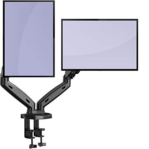 Invision Monitor Halterung 2 Monitore für 17-27 Zoll Bildschirme VESA 75x75 und 100x100mm, 2 Montageoptionen Ergonomische Höhenverstellbar Schwenkbar Neigbar Gewichtskapazität 2-6,5kg (MX300)