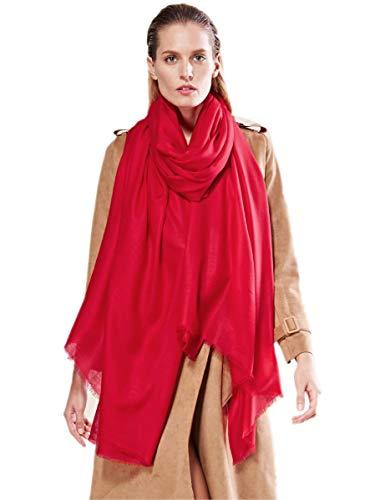 Prettystern prettystern Extra Großer Damen-Schal Pashmina XXL Tuch 100 Garn 100% Wolle Fein & Weich - Rot