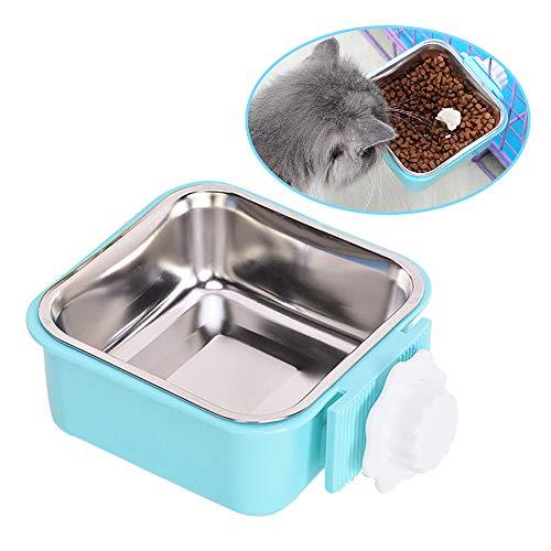 Andiker Hängenden Käfig Futternapf Wassernapf, 2 in 1Näpfe zum Aufhängen im Käfig mit Edelstahlschnalle- und Haken, Wasserspender-Schüsseln, Nahrung für Haustiere Hunde Katze (L, blau)