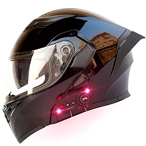 Casco de Motocicleta Bluetooth, Certificado Dot/Ece, Visores Dobles Abatibles, Forro Interior Extraíble, Hombre y Mujer, Casco de...