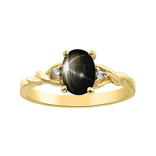 Juego de anillos de zafiro con estrella negra y diamante, chapado en oro amarillo y plata