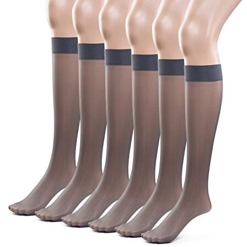 Silky Toes Women's Everyday Reinforced Sheer Knee Highs- 6 Pairs (Average, Smoky)