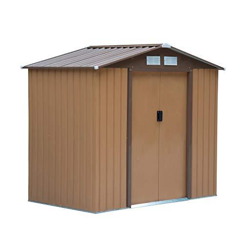 Outsunny Caseta de Jardín Tipo Cobertizo Metálico para Almacenamiento de Herramientas Base Incluida 4 Ventanas 213x130x185 cm Acero Caqui