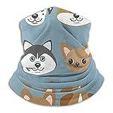 メンズネックウォーマー かわいい漫画の犬の子犬とベクトルセット。犬の品種 春 秋 冬 防寒対策 保温 防風 裏ボア ふわふわ 暖かい 首巻き 無地 男女兼用 小顔効果抜群 26X30CM