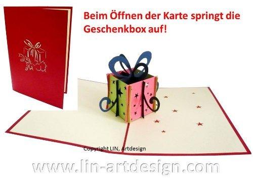 Pop Up 3D Grußkarten Geschenkgutschein Glückwunschskarten , Geburtstagskarten, Gutscheinkarten, N125