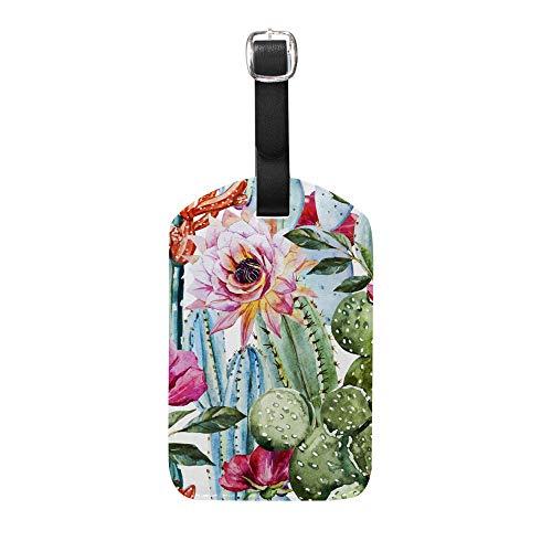 Chefong Etiquetas de Cuero para Equipaje con diseño de Flores para Mujer y Hombre, Accesorios de Viaje, Etiquetas, Bolsa de Equipaje, Etiqueta de identificación, diseño Impreso, 1 Unidad Talla única