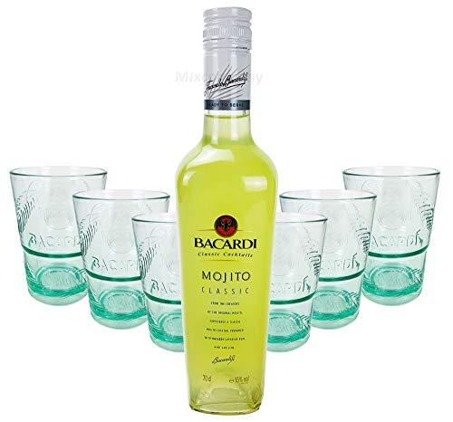 BACARDI MOJITO FLAVOURED SPIRIT DRINK 0,7L 700ml (15% Vol) + 6x Classic Cocktails BarBacardi Rum Glas Gläser Set Mojito Longdrinkglas Cuba Libre Cocktail Bar - [Enthält Sulfite]