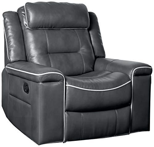 Homelegance Darwan 42' Leather Gel Recliner, Dark Gray