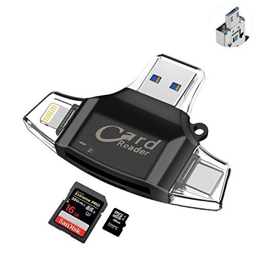 Auelek 4en 1Lector de tarjetas de memoria externa Lightning USB 2.0Tarjeta lectora de unidad flash con conector tipo C USB TF y Función de OTG para iPhone/iPad/Nuevo MacBook Pro/Android