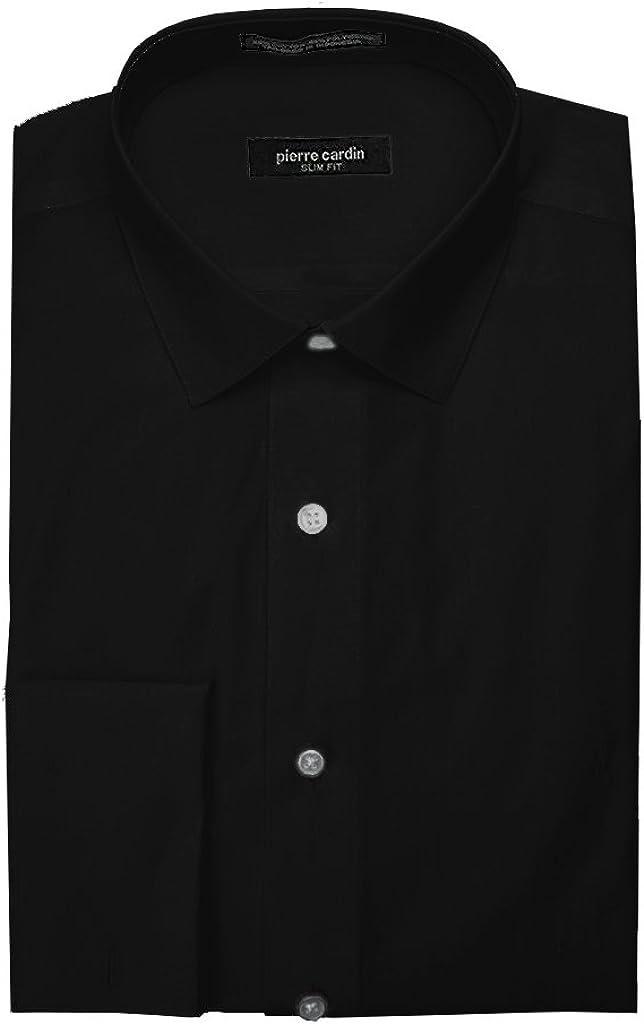 Pierre Cardin Men's Slim Fit French Cuff Solid Dress Shirt