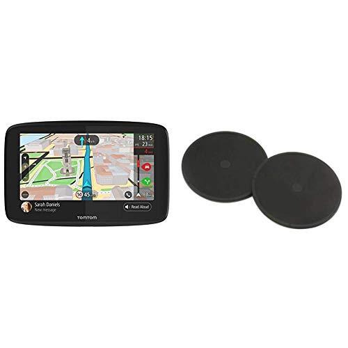 TomTom GPS Voiture GO 620, 6 Pouces, Info Trafic, Alertes de Zones de Danger, Cartes Monde, Mise à Jour Via WiFi, Appels Mains-Libres + Disques de Fixation Adhésifs